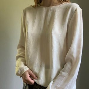 Silky ivory long sleeve blouse